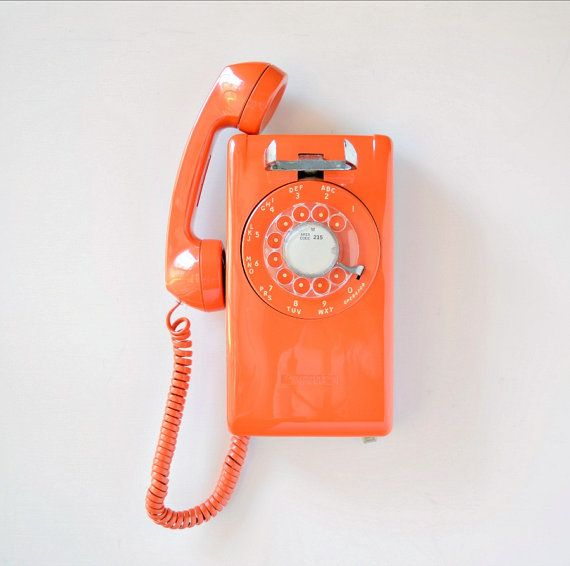 vintage orange rotary wall phone rotary dial wall by thegoldgator vintage finds pinterest. Black Bedroom Furniture Sets. Home Design Ideas
