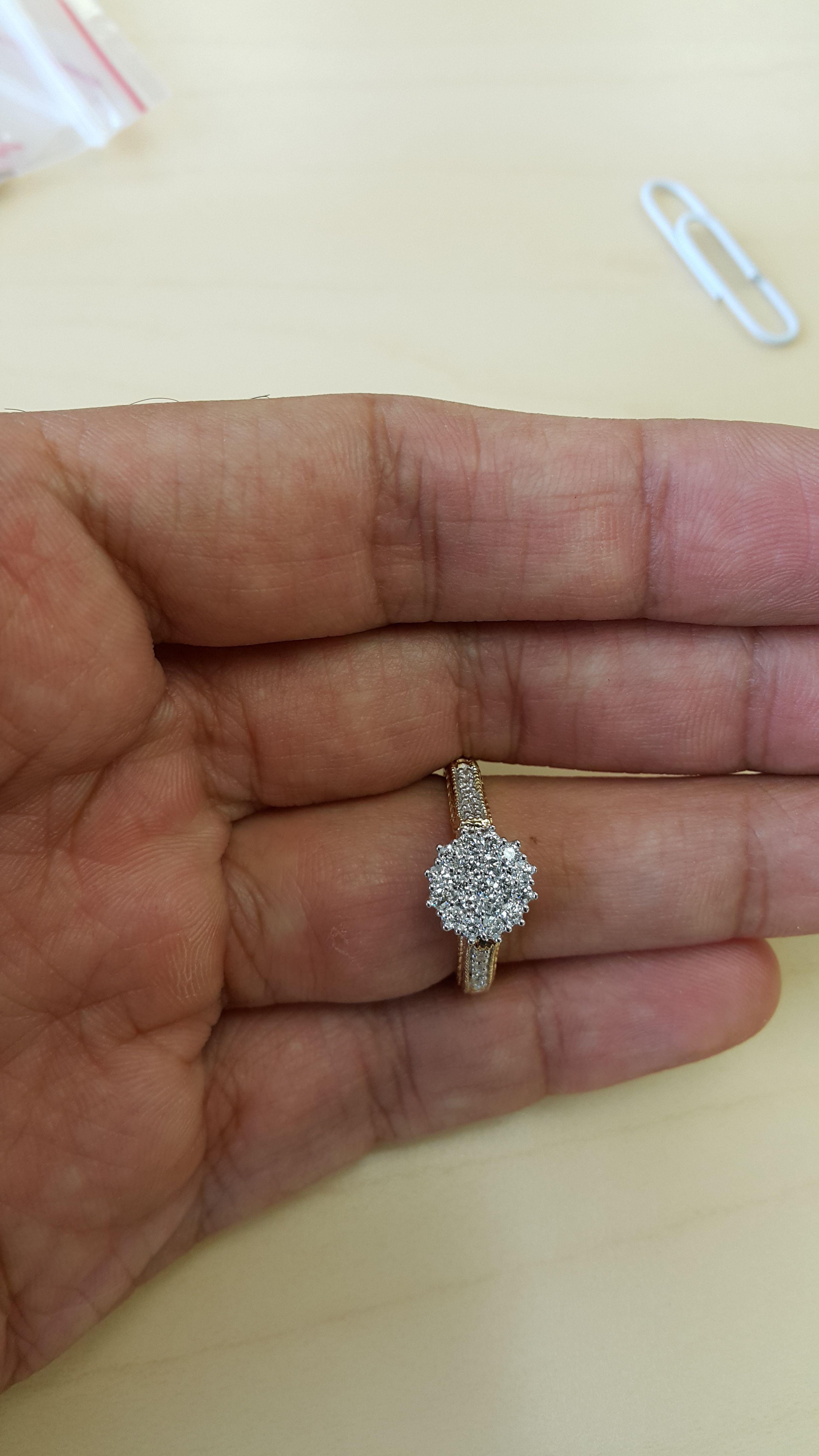 1 Carat Diamond Trio Wedding Ring Set 14k Yellow Gold Wedding Ring Trio Sets Diamond Cluster Engagement Ring Wedding Rings