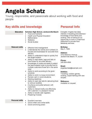 Resume Examples For High School Students Pinterest Student