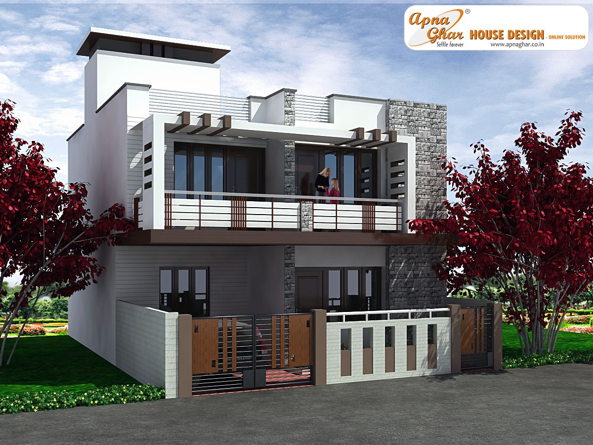 3 bedrooms duplex house design in 117m2 9m x 13m this for Front view of duplex house in india