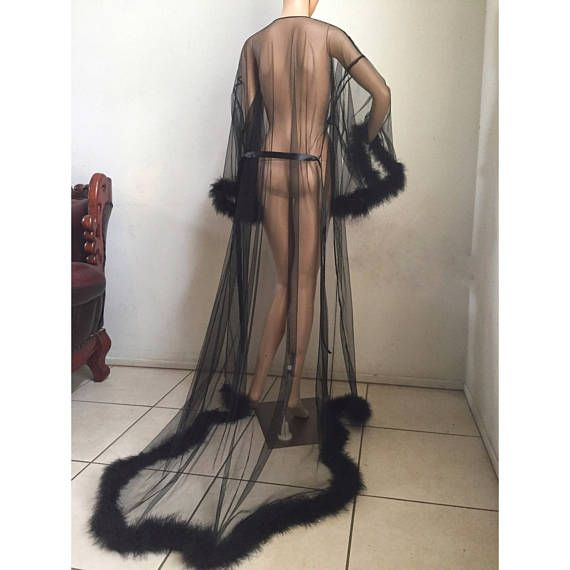 Giselle Black Sheer Robe with fur trim- satin ribbon ties. High quality  lingerie 13b2a8bc3