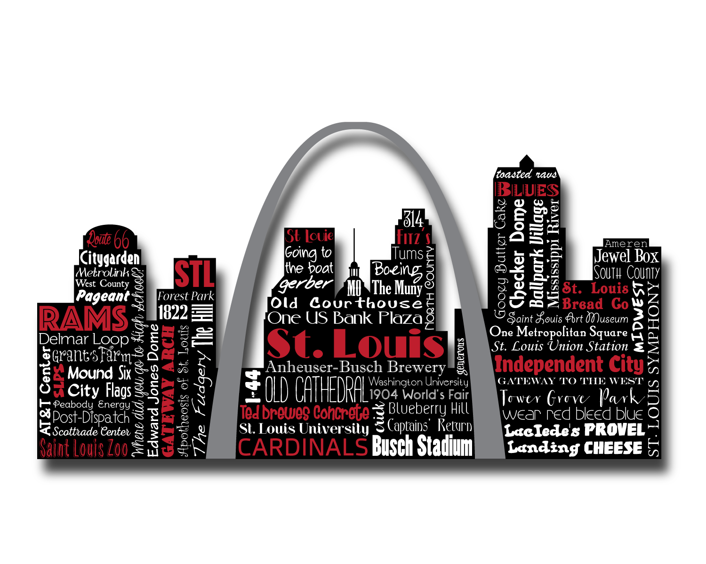 st louis missouri rams cardinals blues word art typography wall art home decor silhouette skyline independence city st louie - Home Decor St Louis Mo