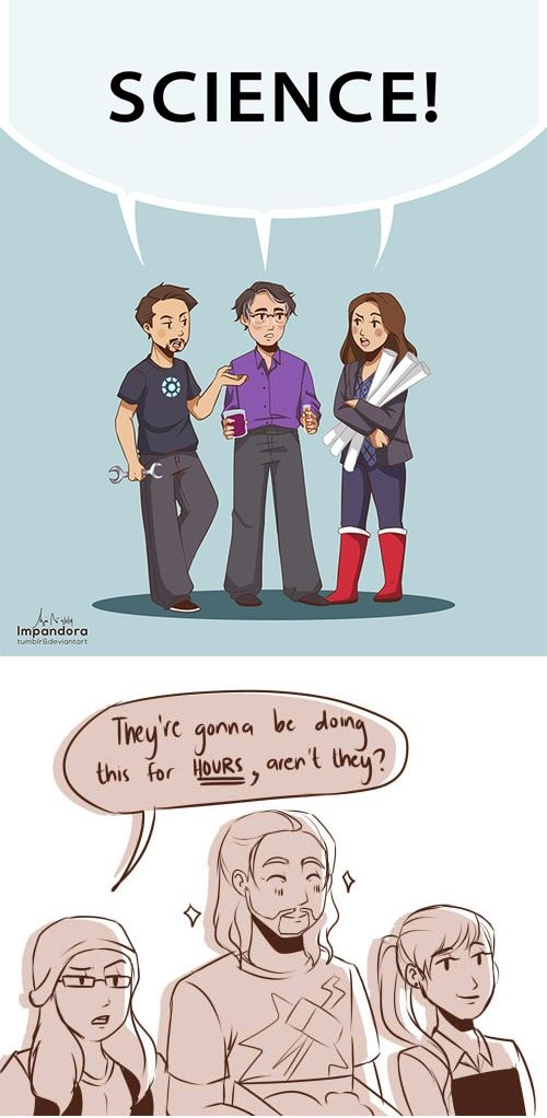 Tony Stark Bruce Banner And Jane Foster Go On A Science