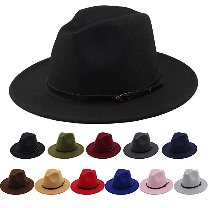 0f96bd92b3 Women Classic Wide Brim Floppy Panama Hat Black Belt Buckle Wool ...