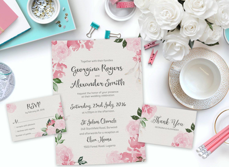 Diy wedding invitation pink printable wedding invitation floral