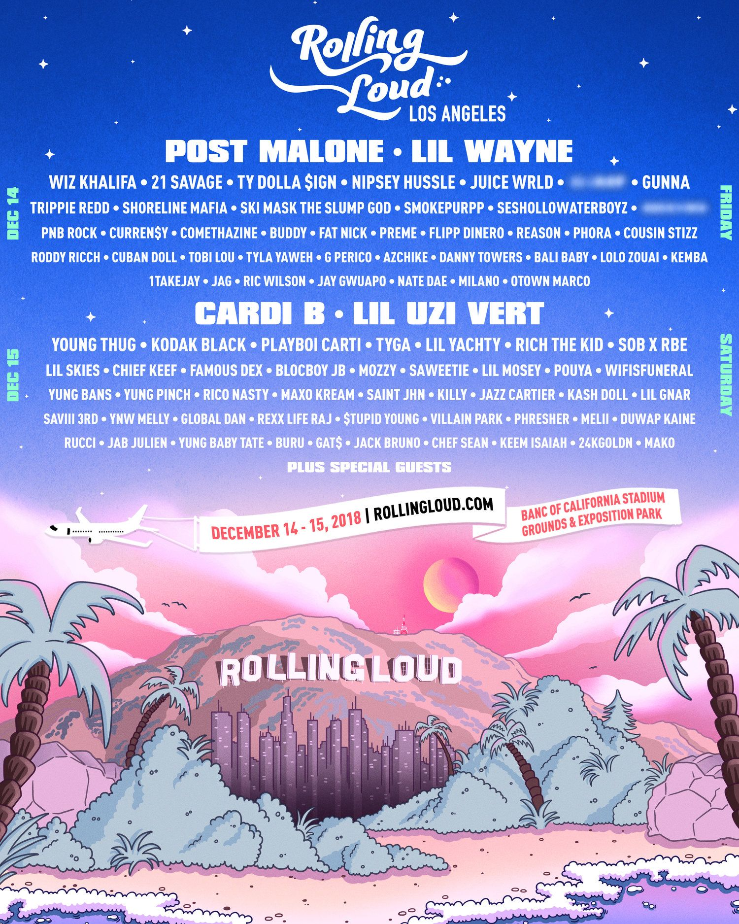 GOVERNORS BALL FESTIVAL Poster Print Hip Hop Rap Celebrity MULTIPLE SIZES 2018 1