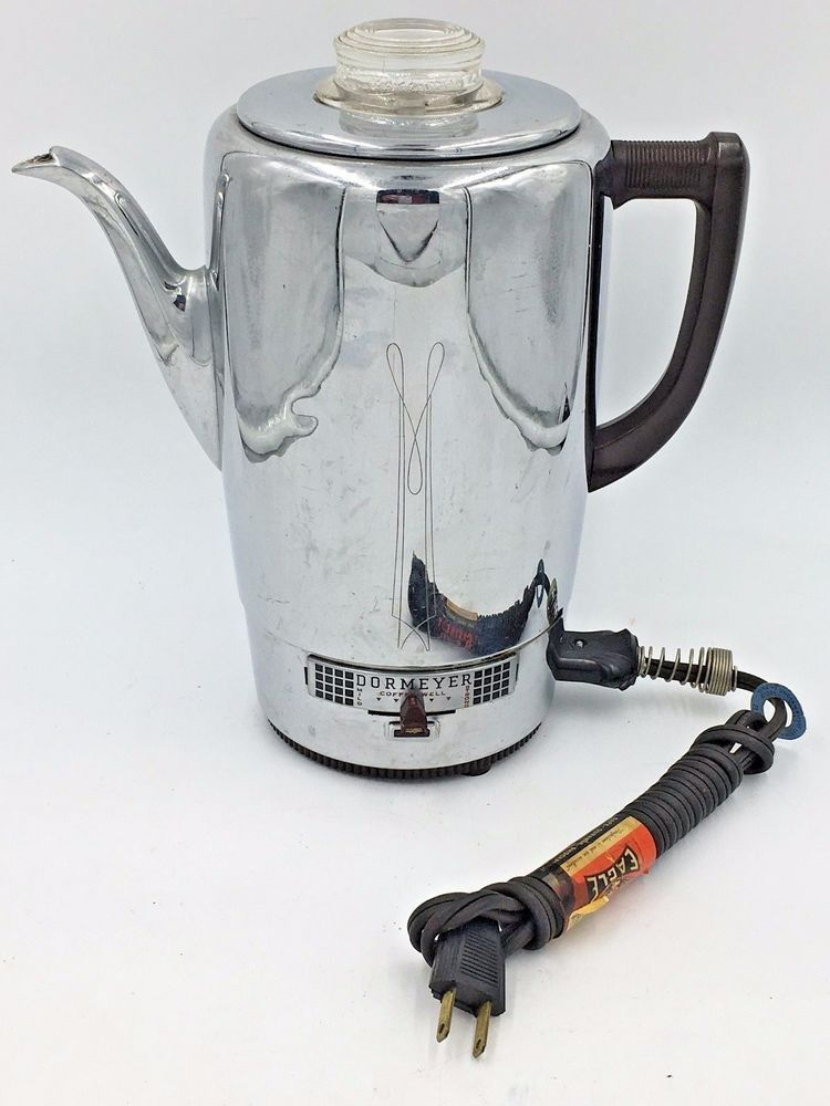 Electric Coffee Maker ~ Vintage dormeyer chrome electric coffee maker pot