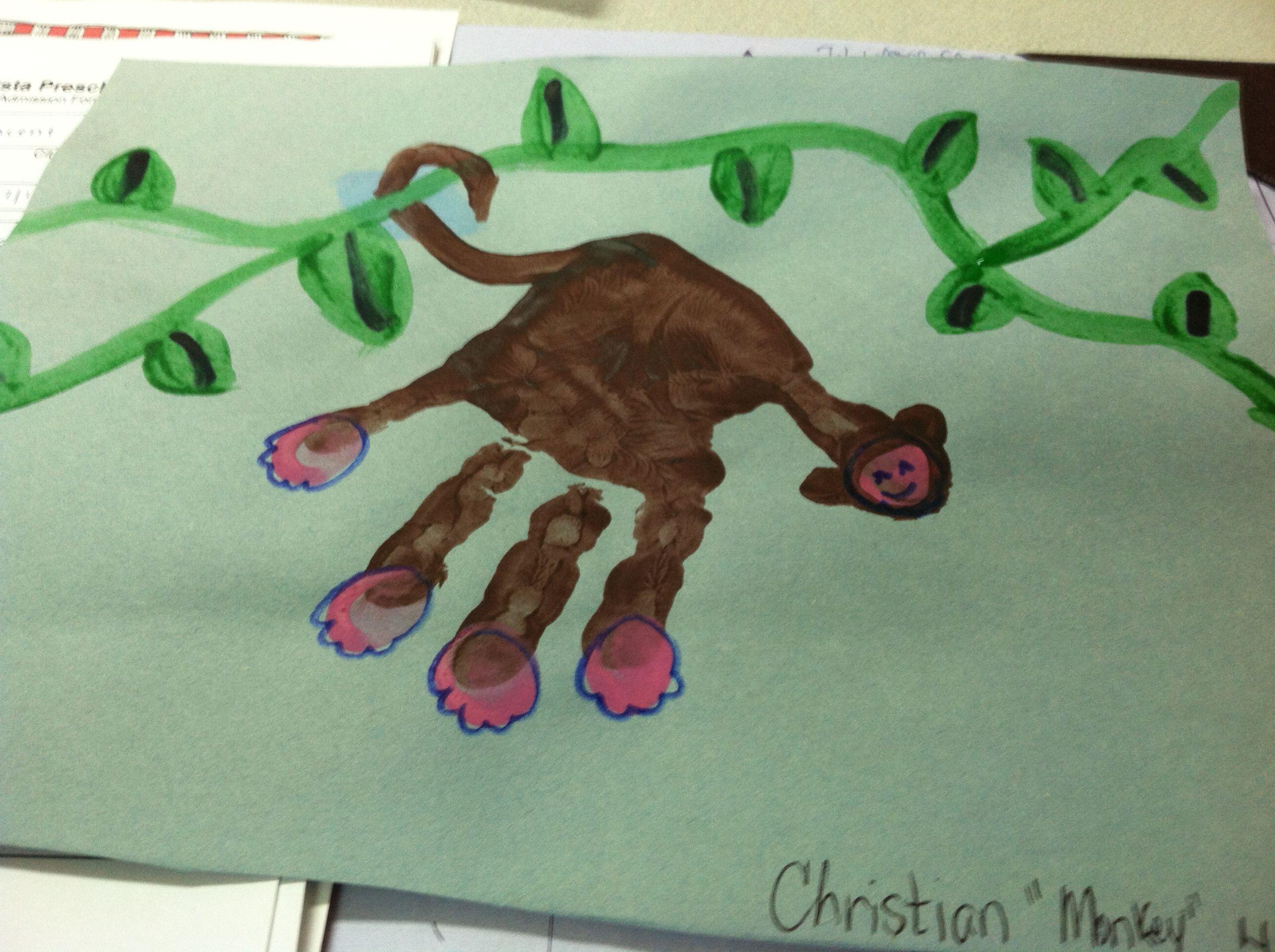 Handprint Monkeys For Our Rainforest Theme In