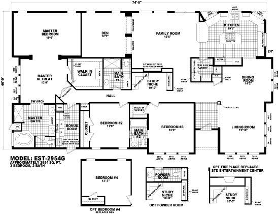 Cavco West Estate Series Est 2954g 3bed 2 2 5 Bath Retreat Den Mobile Home Floor Plans Modular Home Floor Plans Manufactured Homes Floor Plans