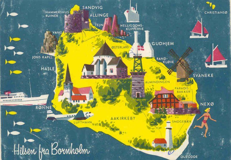 Bornholm Szukaj W Google Postkort Plakater Kort