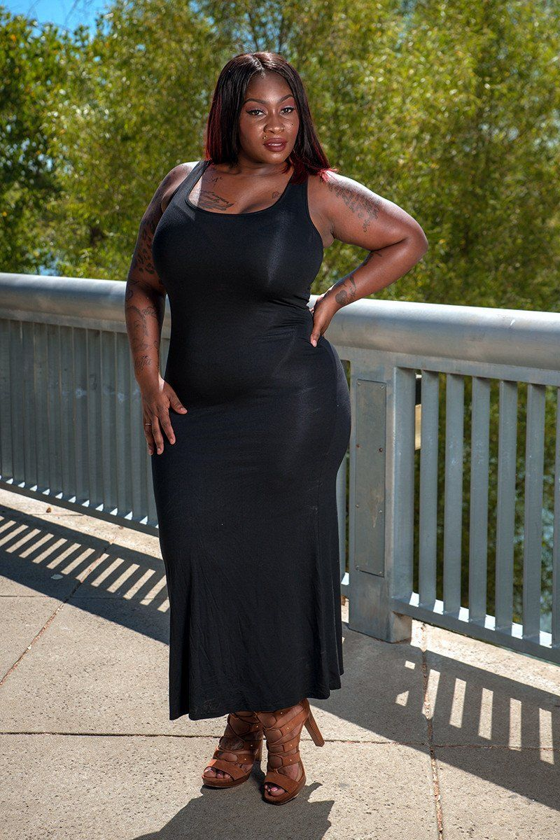 Plus Size Dream Full Length Tank Top Maxi Dress Black Products