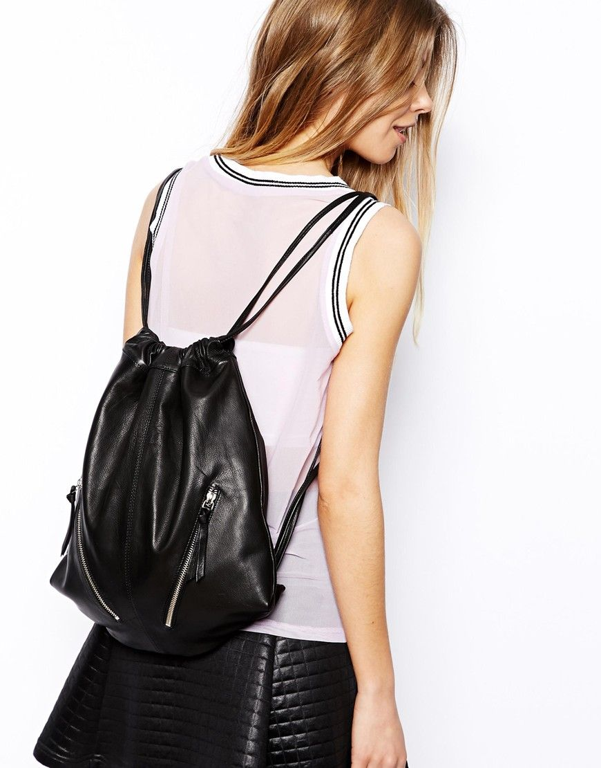 Image 3 of ASOS Leather Drawstring Backpack with Double Zips | DIY ...