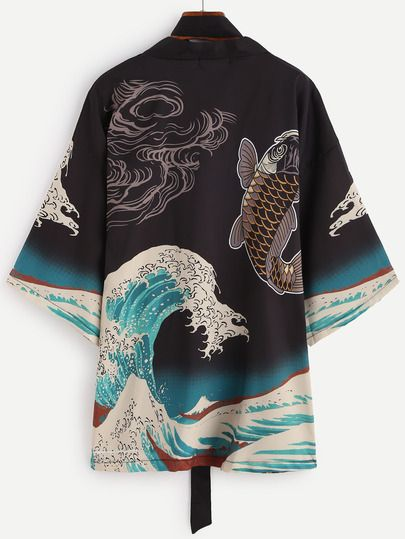 Spindrift And Carp Print Kimono With Belt -SheIn(Sheinside)