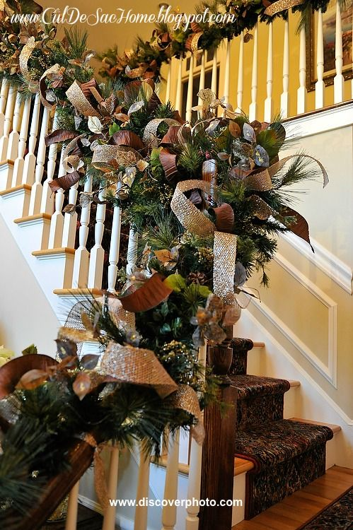 An amazing christmas garland railing diy tutorial i love - Christmas decorations for stair rail ...