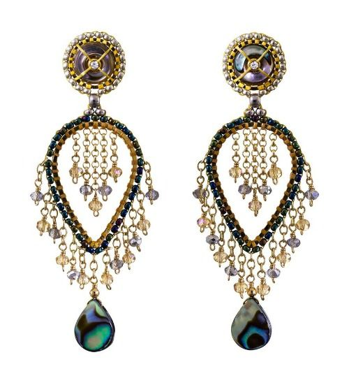 Miguel Ases abalone shell and topaz quartz earrings.
