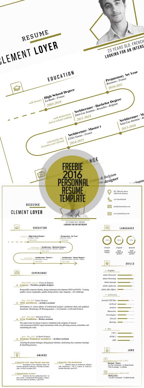 Free Fresh 2016 Resume Template | Diseño Gráfico | Pinterest ...