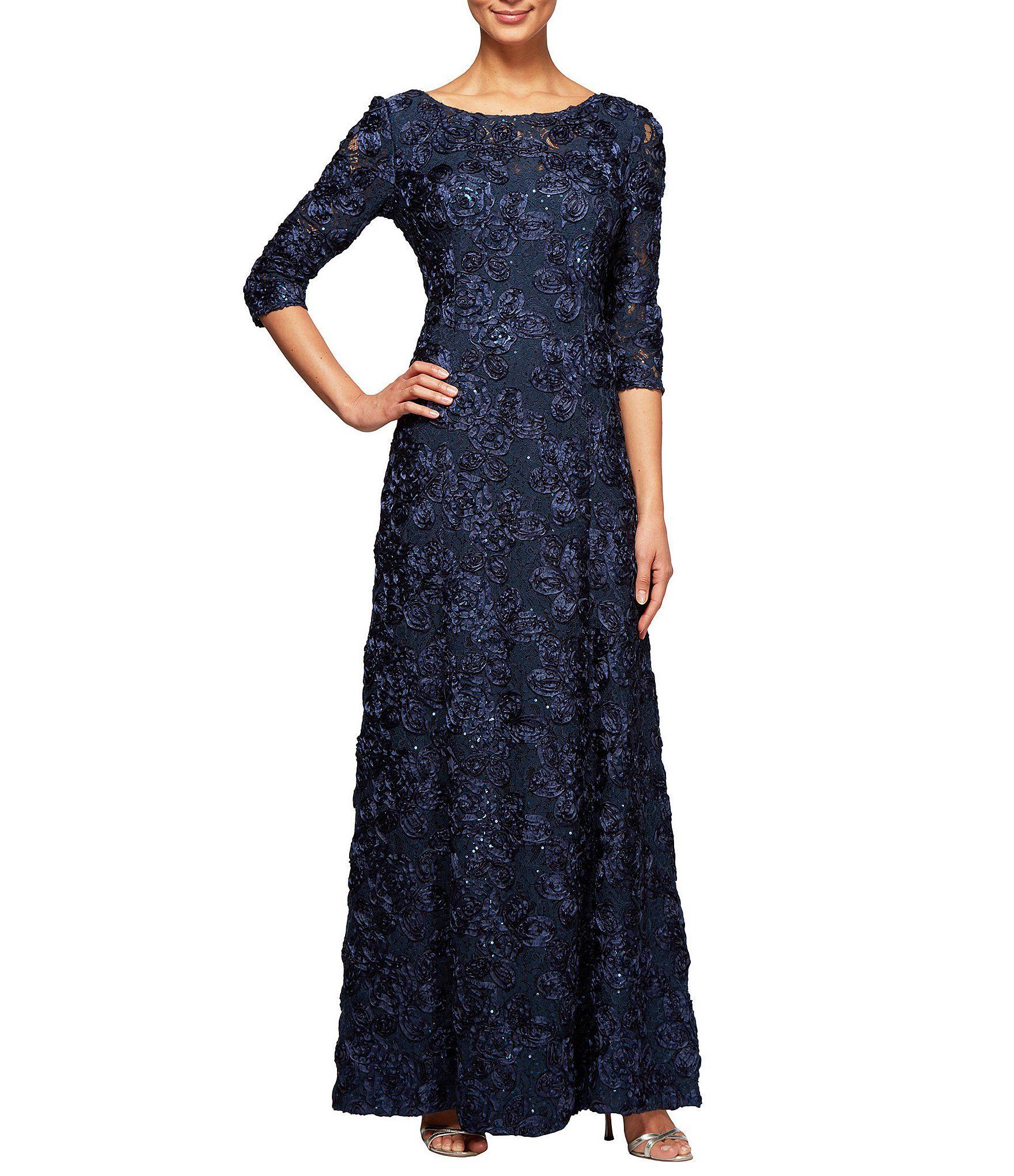 Alex Evenings Aline Rosette Gown #Dillards | Mother of the bride ...