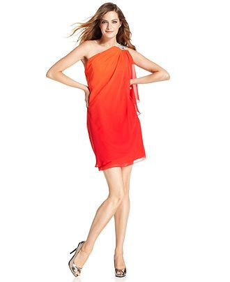 JS Boutique Dress, Sleeveless One-Shoulder Beaded Ombre - Womens Dresses - Macy's