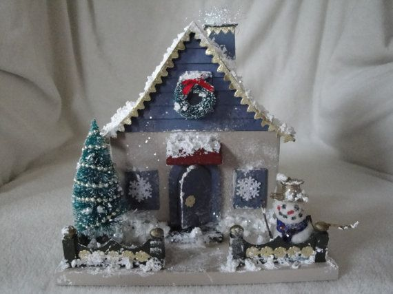 Snowflakes and Snowman CottagePutz House by PutzHouses on Etsy, $55.00