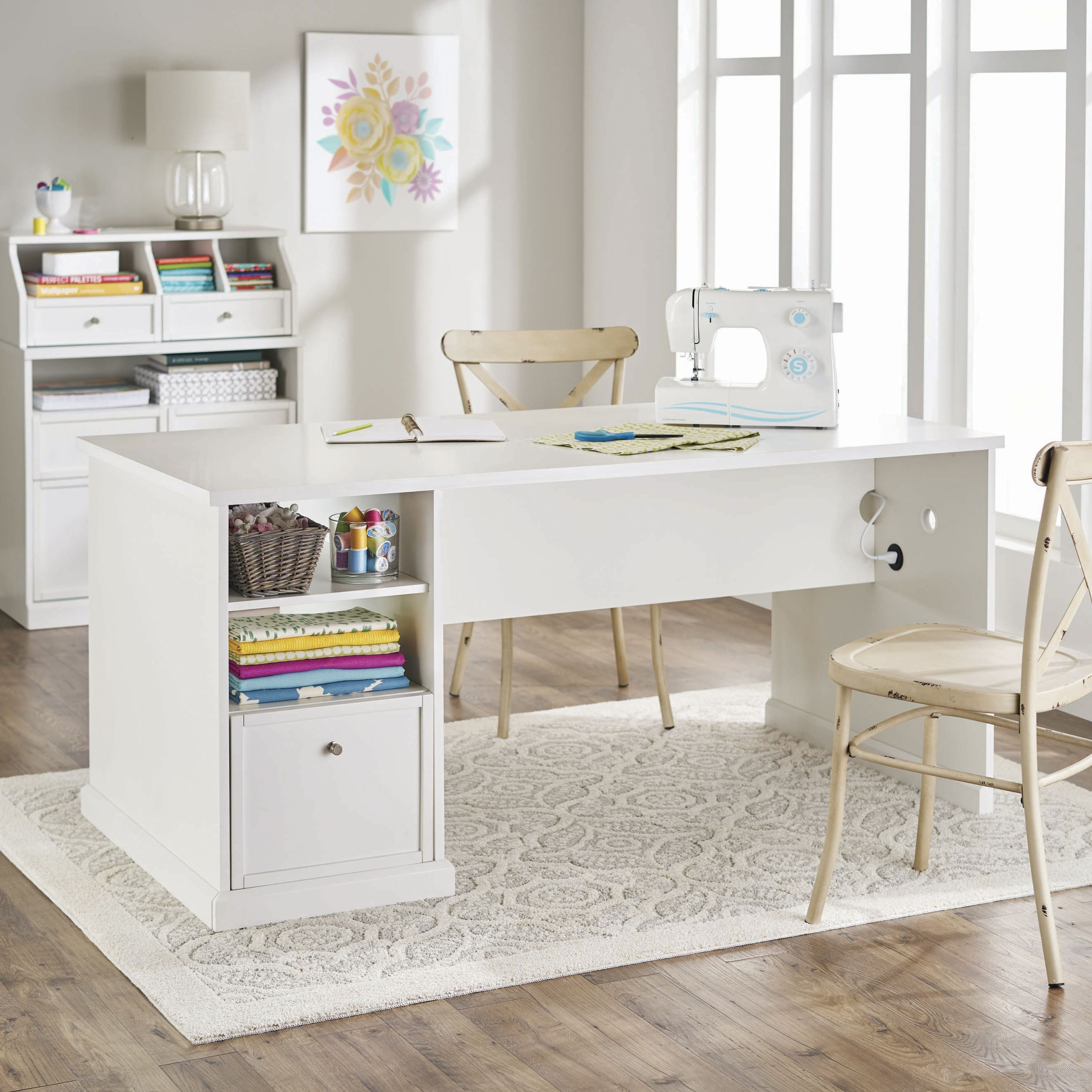 Better Homes Gardens Craftform Sewing And Craft Table White Finish Walmart Com Craft Tables With Storage Craft Table Better Homes
