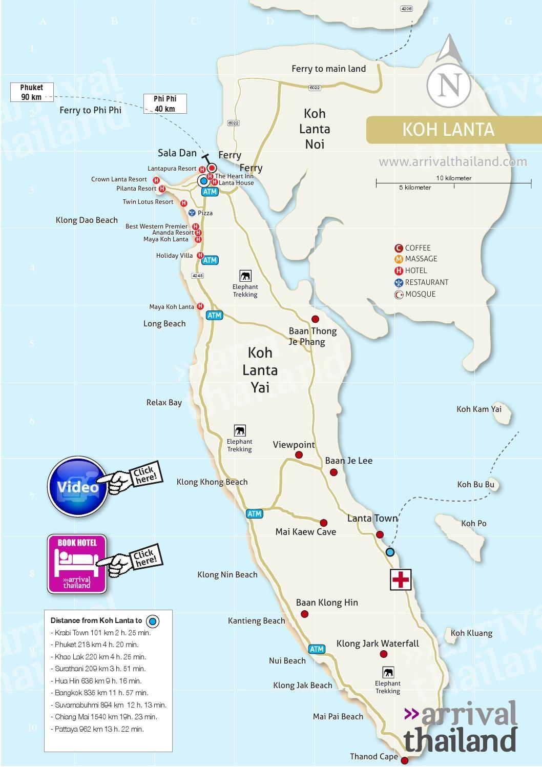 Arrival Thailand Koh Lanta map in 2020 Thailand travel