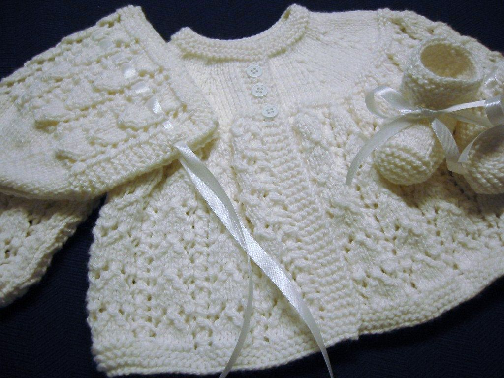 73cc5eb62 Hand Knitted Baby Girl White Sweater Bonnet Booties Set 3-6 Months ...