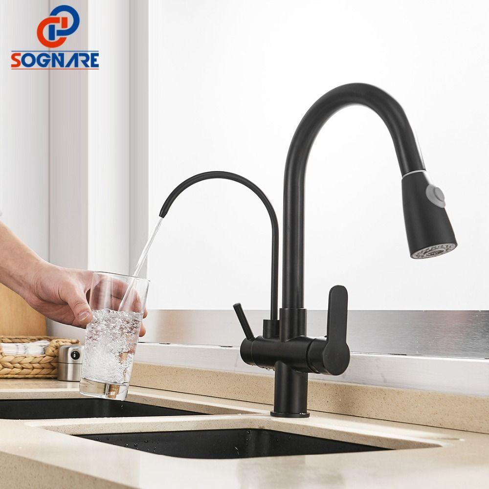 Sognare Pull Out Kitchen Faucet Black Kitchen Mixer Water Faucet Kitchen Tap Water Filter Tap For Ki Pull Out Kitchen Faucet Black Kitchen Faucets Kitchen Taps