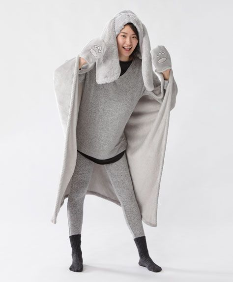 ae67735214 Blanket with hood and large ears Batas De Dormir
