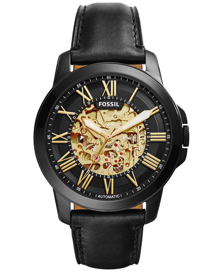 8a2494b6c7b Fossil Men's Automatic Grant Black Leather Strap Watch 45mm ME3094 ...