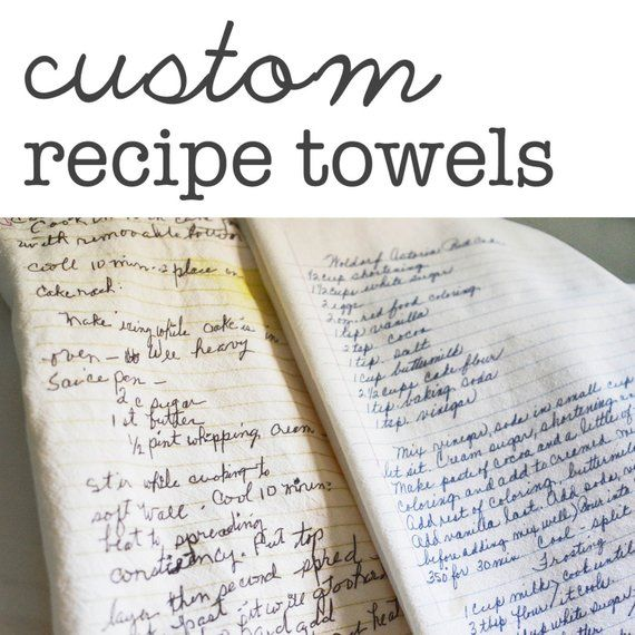 Custom Family Recipe Flour Sack Dish Towels - Made to Order - printed directly onto towel #dishtowels