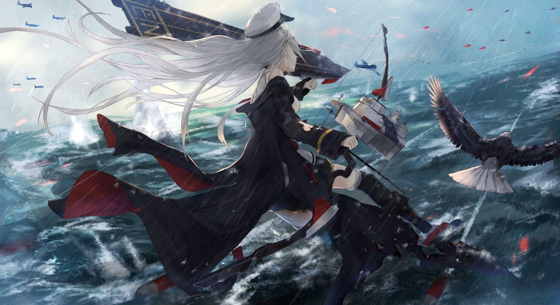 digital art artwork video games Azur Lane white hair