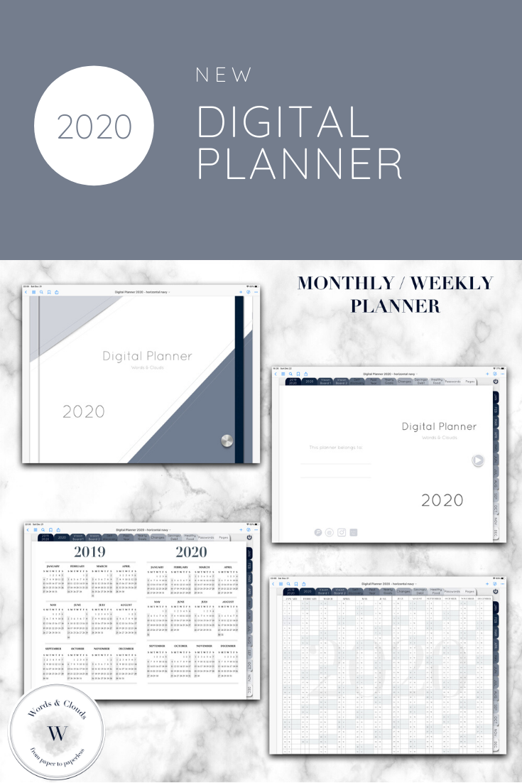 Digital Planner for 2020, Goodnotes, Notability, monthly