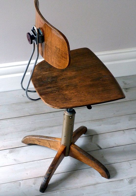 Vintage Bauhaus Oak Architects Desk Chair Home