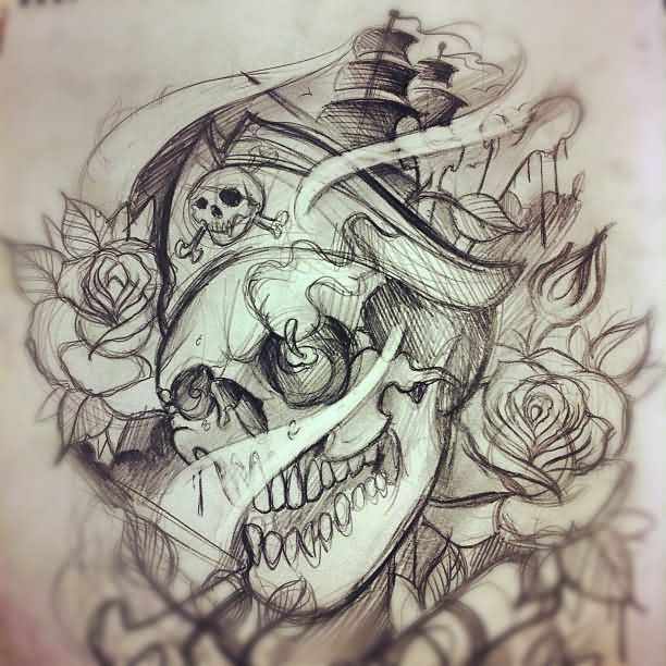 Pirate And Roses Tattoos Sketch | pirata | Pinterest ...