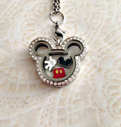 176483976 Mickey inspired stainless steel memory locket with crystals and ...