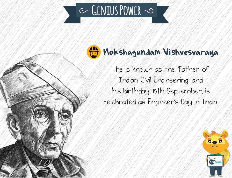 GeniusPower #Education #Child #CGSlate #MokshagundanVishvesvaraya - civil engineer