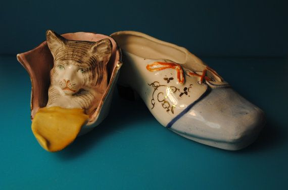 Puss in Boots Porcelain Box antique cat box by CaitiesFleaCircus