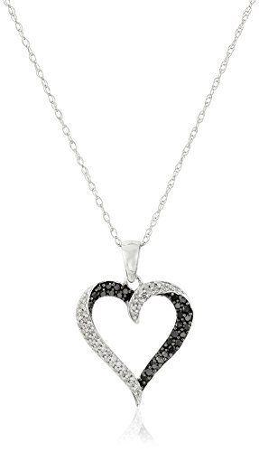 Amazon Com 10k White Gold Black And White Diamond Heart Pendant Necklace 1 3 Cttw Heart Pendant Diamond Diamond Heart Pendant Necklace White Diamond Earrings