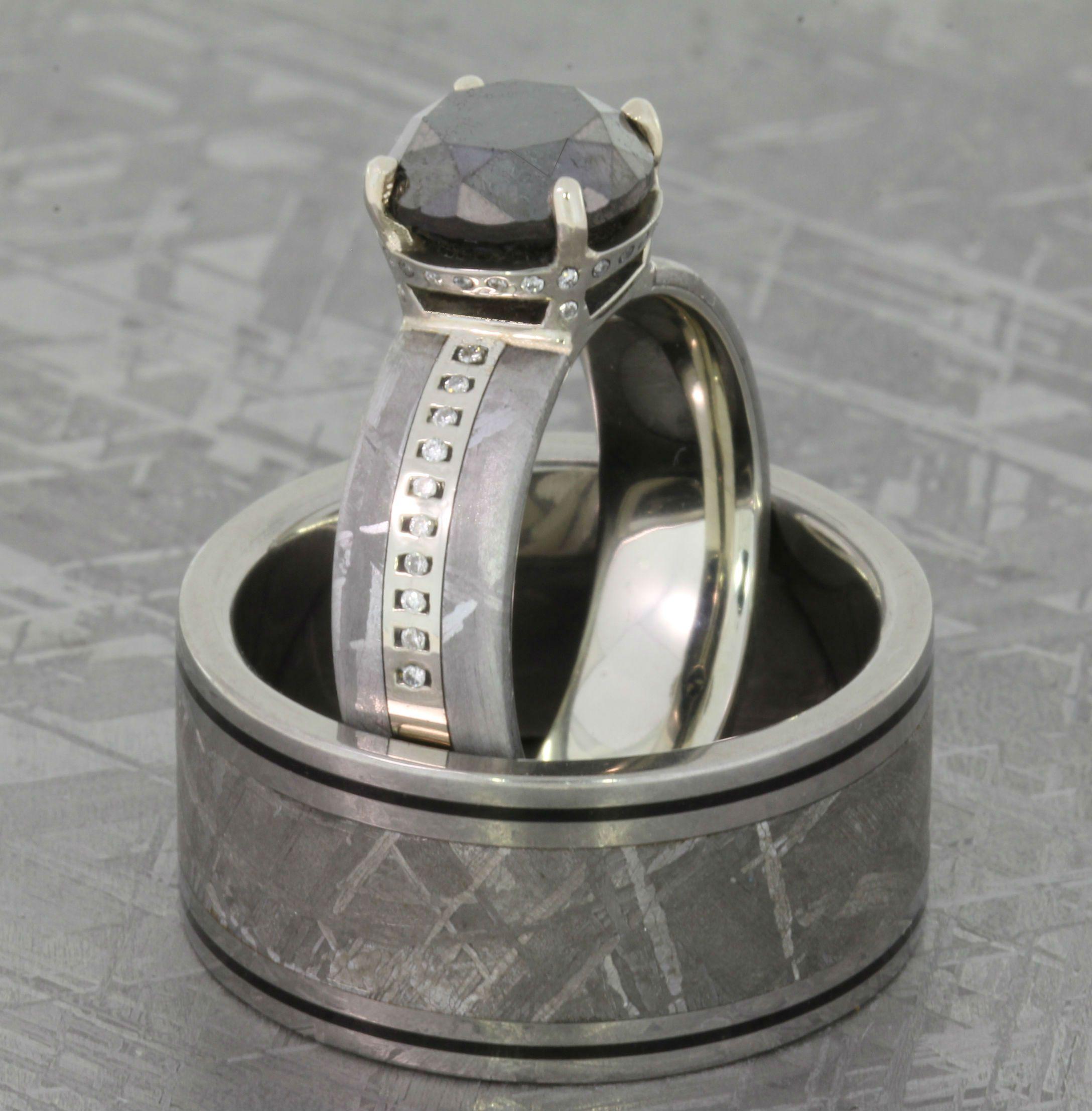 Meteorite Wedding Ring Set Black Diamond & Wedding Band