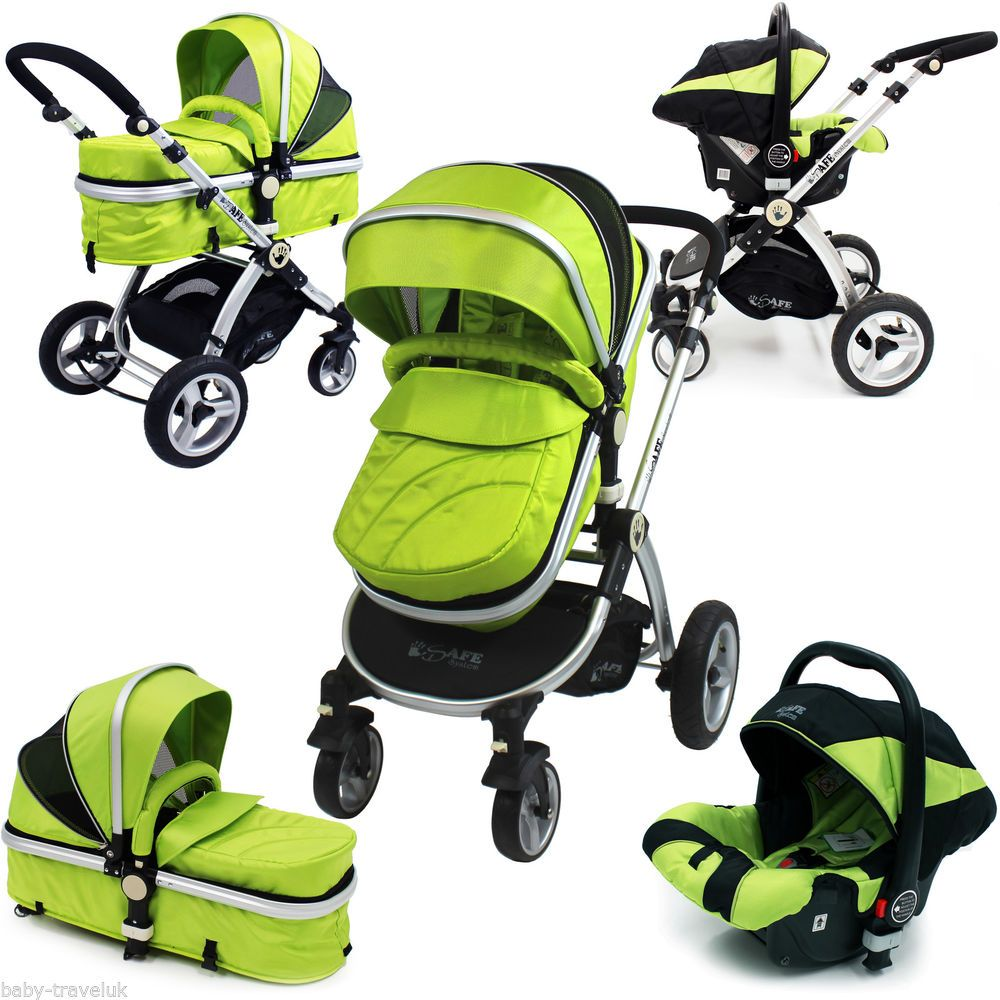 iSafe Baby Luxury Pram Travel System 3 in 1 Lime + Car