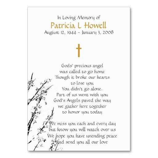 Memorial Prayer Card Business Card Templates  Funeral Business