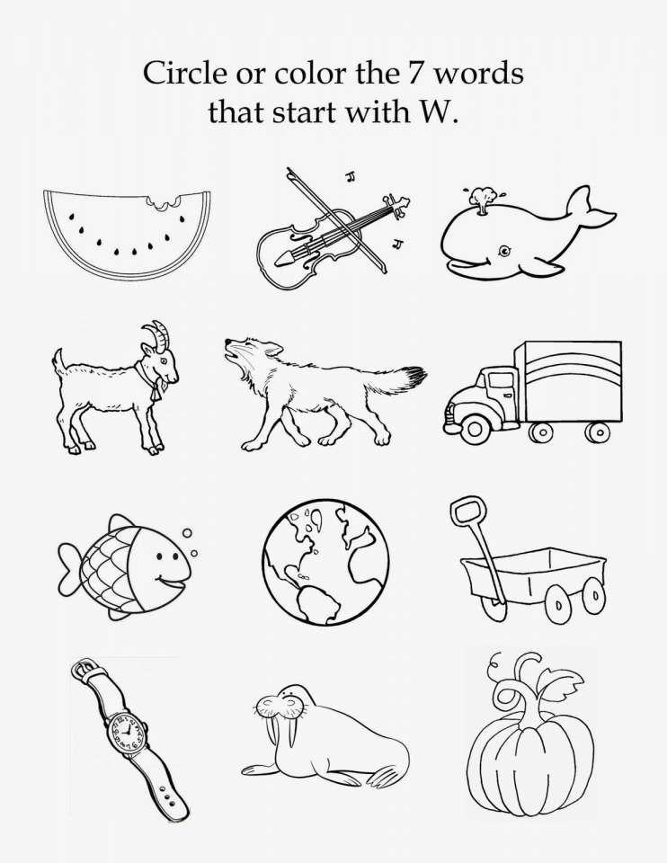 11+ Beginning Sound W Worksheet Preschool Preschool