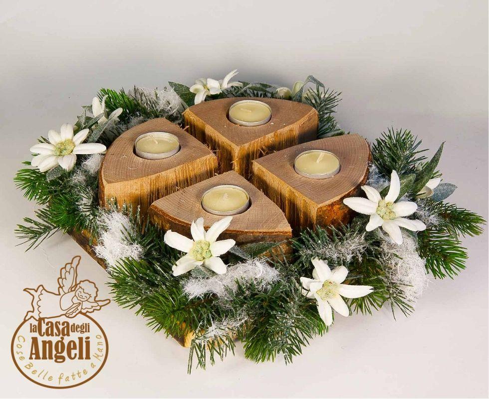 Decorazioni con ceppi di legno portacandele legno grezzo - Decorazioni natalizie in legno ...