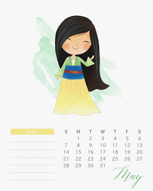 Calendario 2017 de las Princesas Disney para Imprimir Gratis ...