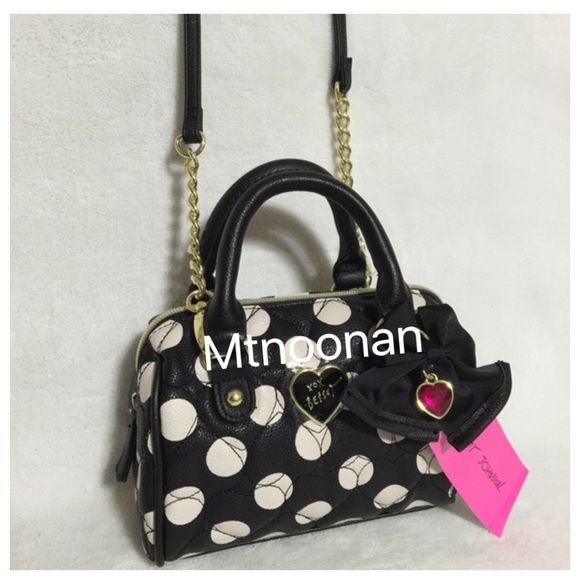 "NWT Betsey Johnson Mini Speedy Crossbody Satchel NEW WITH TAGS, Betsey Johnson Black and White Polka Dot Mini Barrel Speedy Convertible Crossbody Satchel - Black Bow/Pink Crystal Heart Charm  • Dimensions: 7""W x 5""H x 4""D • Double handle drop: 3.5"" • Removable Crossbody/shoulder strap: 50"" long • Gold tone hardware (no scratches, has protective clear plastic film cover) • Signature Satin Lining   ❌ NO HOLDS ❌ NO TRADES    I have more BETSEY JOHNSON, Check out my other items! Betsey Johnson…"