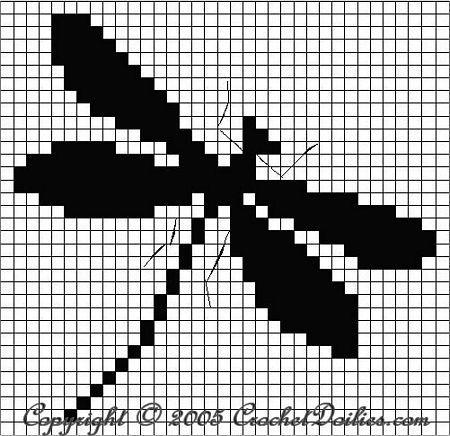 Filet Crochet Dragonfly Chart T Pinterest Filet Crochet