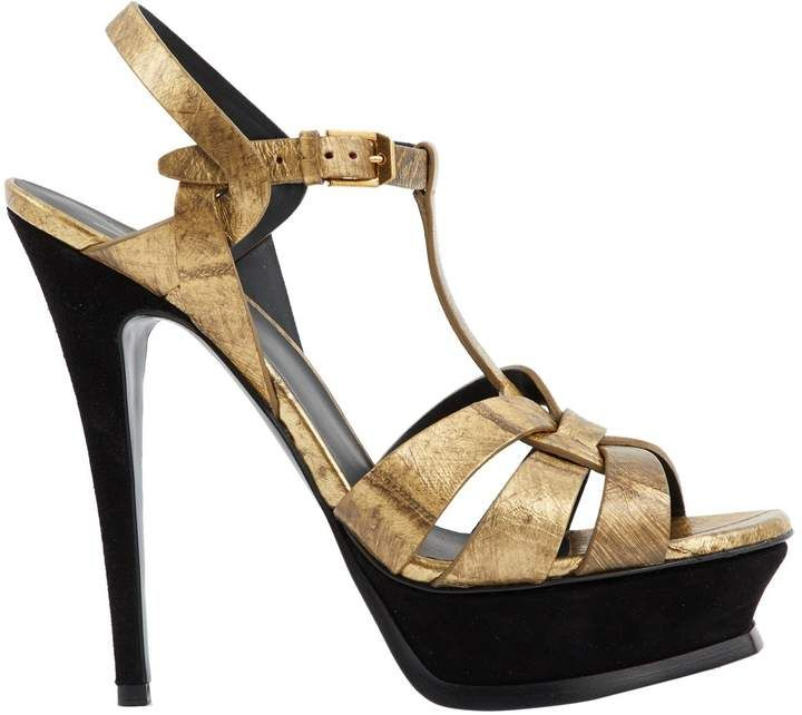 8c68dad9694a Saint Laurent Gold   Black High Heels - Gold leather heeled sandals with  platforms and suede details. Made in Italy.