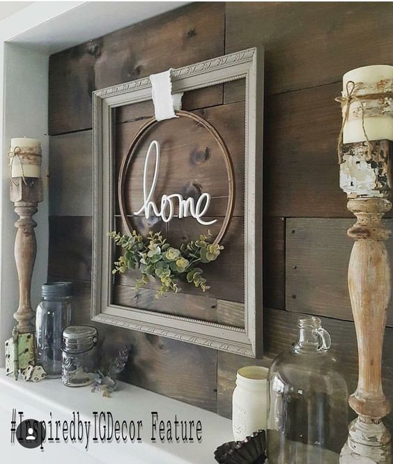 Creating A Rustic Living Room Decor: Love This Frame And Hoop Arrangement. Could Make That So