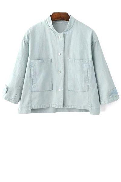 Big Pocket Denim Jacket LIGHT BLUE: Denim Tops   ZAFUL