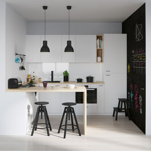 Home designing via 25 white and wood kitchen ideas